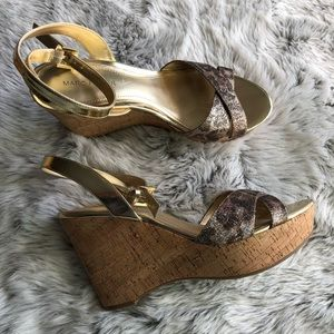 Marc Fisher Welly leopard cross strap wedges